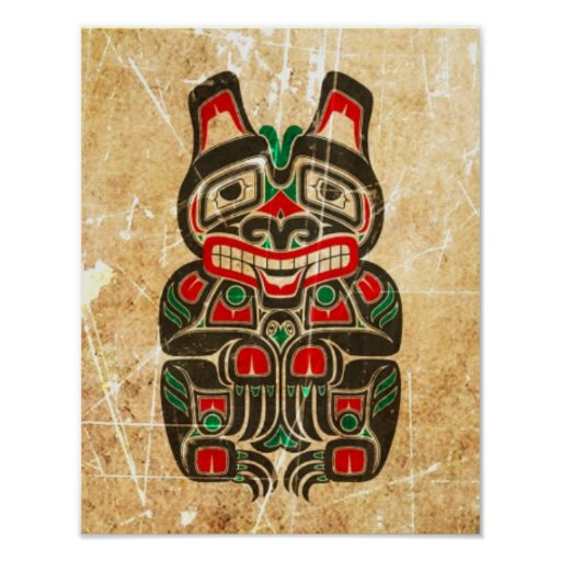 Scratched and Worn Red and Green Haida Spirit Bear Poster