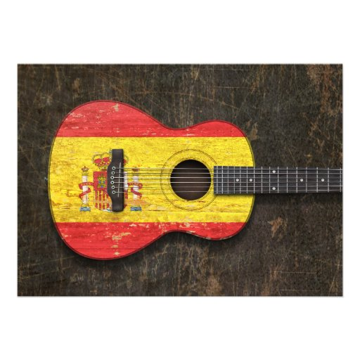 Scratched and Worn Spanish Flag Acoustic Guitar Invitations