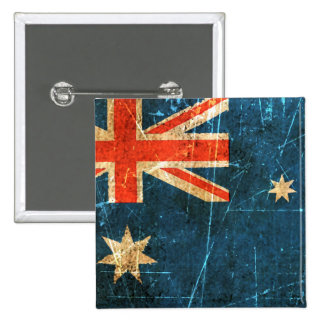 Scratched and Worn Vintage Australian Flag 15 Cm Square Badge