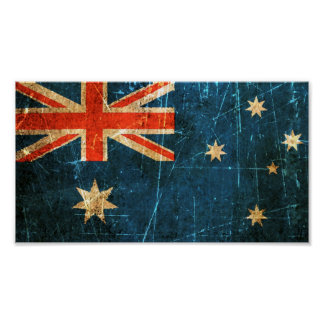 Scratched and Worn Vintage Australian Flag Posters