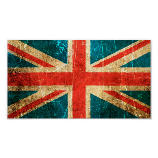 Scratched and Worn Vintage British Flag Poster