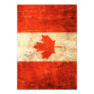 Scratched and Worn Vintage Canadian Flag Invitations
