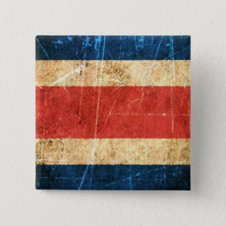 Scratched and Worn Vintage Costa Rica Flag 15 Cm Square Badge