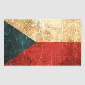 Scratched and Worn Vintage Czech Republic Flag Rectangular Sticker