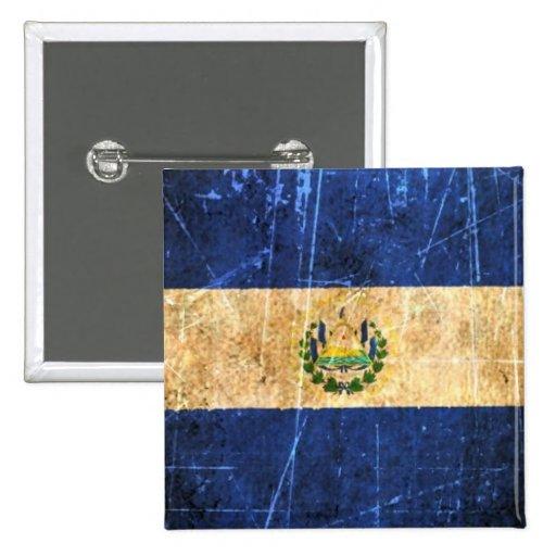Scratched and Worn Vintage El Salvador Flag Pinback Button