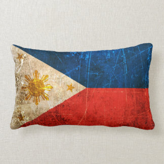 Scratched and Worn Vintage Filipino Flag Lumbar Cushion