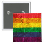 Scratched and Worn Vintage Gay Pride Rainbow Flag Pinback Buttons