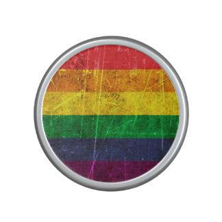 Scratched and Worn Vintage Gay Pride Rainbow Flag Bluetooth Speaker