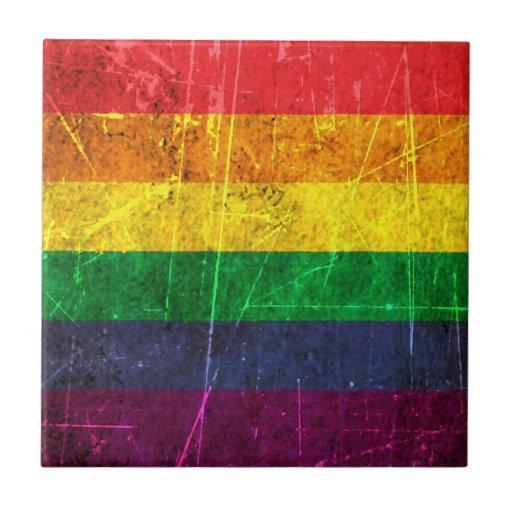 Scratched and Worn Vintage Gay Pride Rainbow Flag Ceramic Tiles