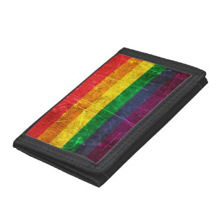 Scratched and Worn Vintage Gay Pride Rainbow Flag Trifold Wallets