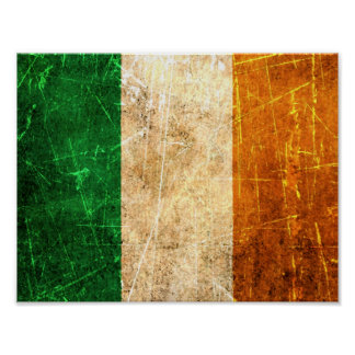 Scratched and Worn Vintage Irish Flag Posters