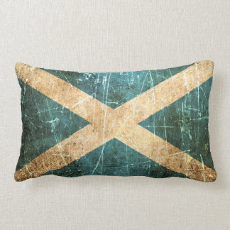 Scratched and Worn Vintage Scottish Flag Lumbar Pillow