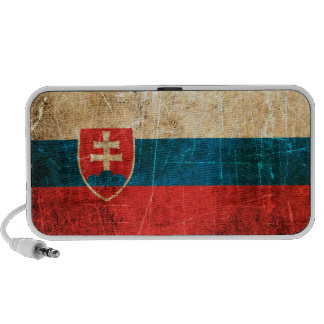 Scratched and Worn Vintage Slovakian Flag Laptop Speakers