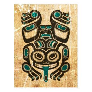 Scratched Blue and Black Haida Spirit Tree Frog Postcard