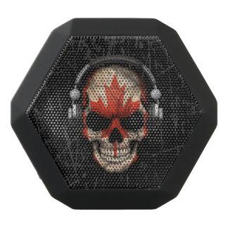 Scratched Canadian Dj Skull with Headphones Black Boombot Rex Bluetooth Speaker