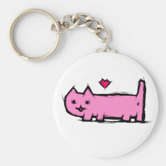 Scratched cat key ring