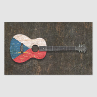 Scratched Czech Republic Flag Acoustic Guitar Rectangle Stickers