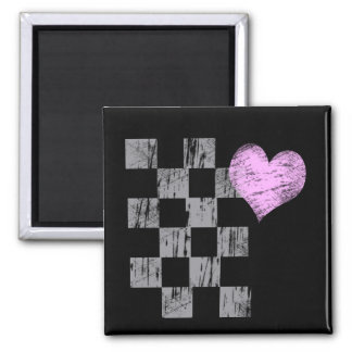 Scratched Heart Square Magnet