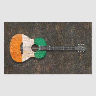 Scratched Ivory Coast Flag Acoustic Guitar Rectangle Sticker