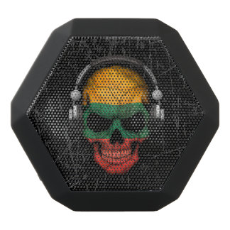 Scratched Lithuanian Dj Skull with Headphones Black Boombot Rex Bluetooth Speaker