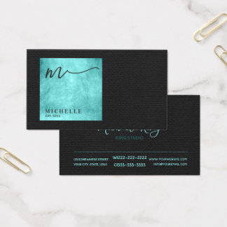Scratched Metal Square Monogram Teal ID449 Business Card