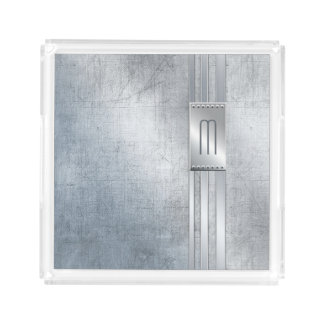 Scratched Metal Stripes Monogram Blue ID443 Acrylic Tray