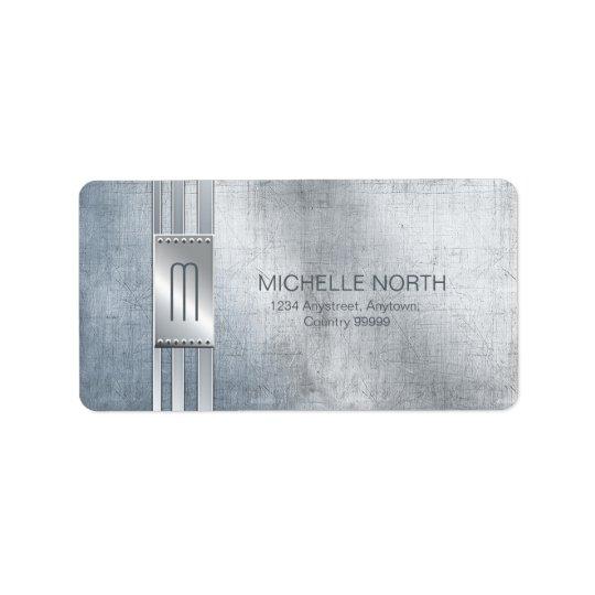 Scratched Metal Stripes Monogram Blue ID443 Label