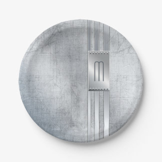 Scratched Metal Stripes Monogram Blue ID443 Paper Plate