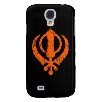 Scratched Orange Sikh Khanda Symbol on Black Galaxy S4 Cover