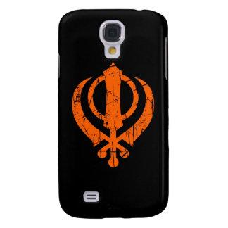 Scratched Orange Sikh Khanda Symbol on Black Samsung Galaxy S4 Case