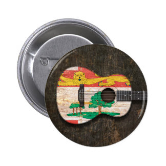 Scratched Prince Edward Island Acoustic Guitar Pinback Button