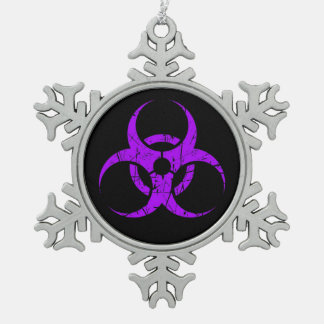 Scratched Purple Biohazard Symbol on Black Snowflake Pewter Christmas Ornament