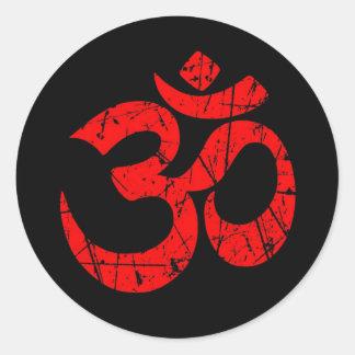 Scratched Red Yoga Om Symbol on Black Round Sticker