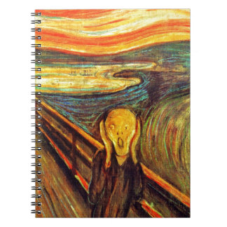 Scream by Munch ~ screaming man w red orange sky Notebook