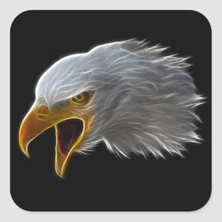 Screaming American Bald Eagle Head Square Sticker