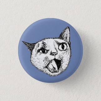 Screaming Cat 3 Cm Round Badge