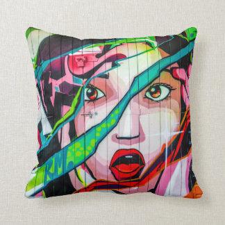 Screaming Girl Colorful Graffiti Pillow Cushions