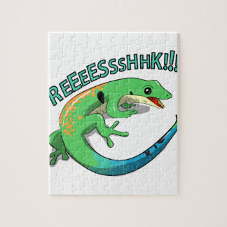Screaming Lizard Doodle Noodle Design Jigsaw Puzzle