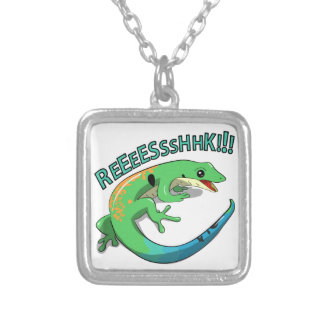 Screaming Lizard Doodle Noodle Design Silver Plated Necklace