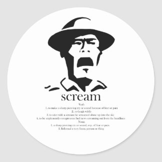 screaming man with definition classic round sticker
