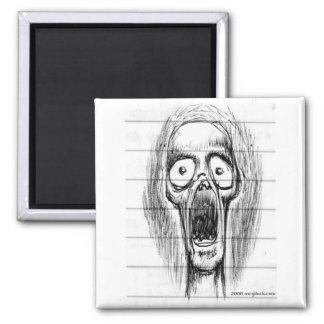 Screaming Skull Guy Square Magnet