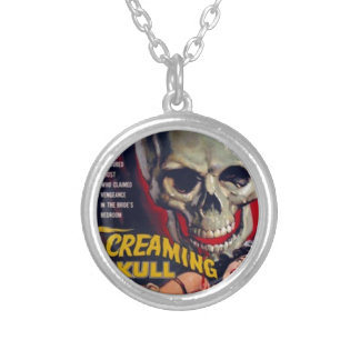 Screaming Skull Silver Plated Necklace