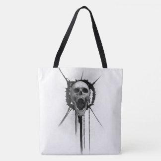 Screaming Skull (White) Tote Bag