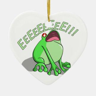 Screaming Tree Frog Doodle Noodle Design Ceramic Heart Decoration
