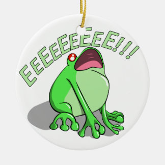 Screaming Tree Frog Doodle Noodle Design Ceramic Ornament