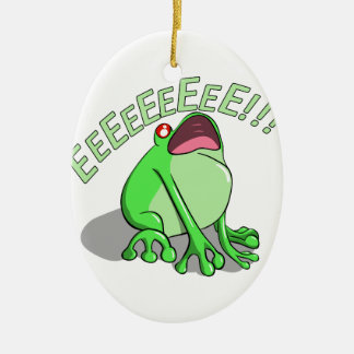 Screaming Tree Frog Doodle Noodle Design Ceramic Oval Decoration