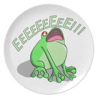 Screaming Tree Frog Doodle Noodle Design Dinner Plate