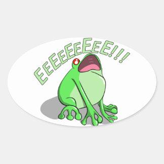 Screaming Tree Frog Doodle Noodle Design Oval Sticker