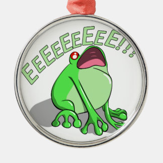 Screaming Tree Frog Doodle Noodle Design Silver-Colored Round Decoration