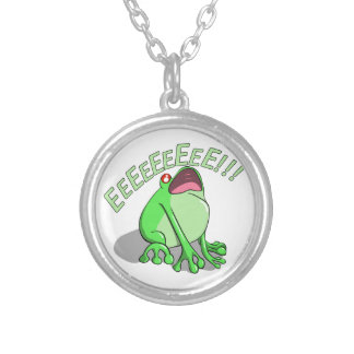 Screaming Tree Frog Doodle Noodle Design Silver Plated Necklace